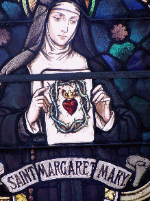 stained glass depiction of st. margaret mary